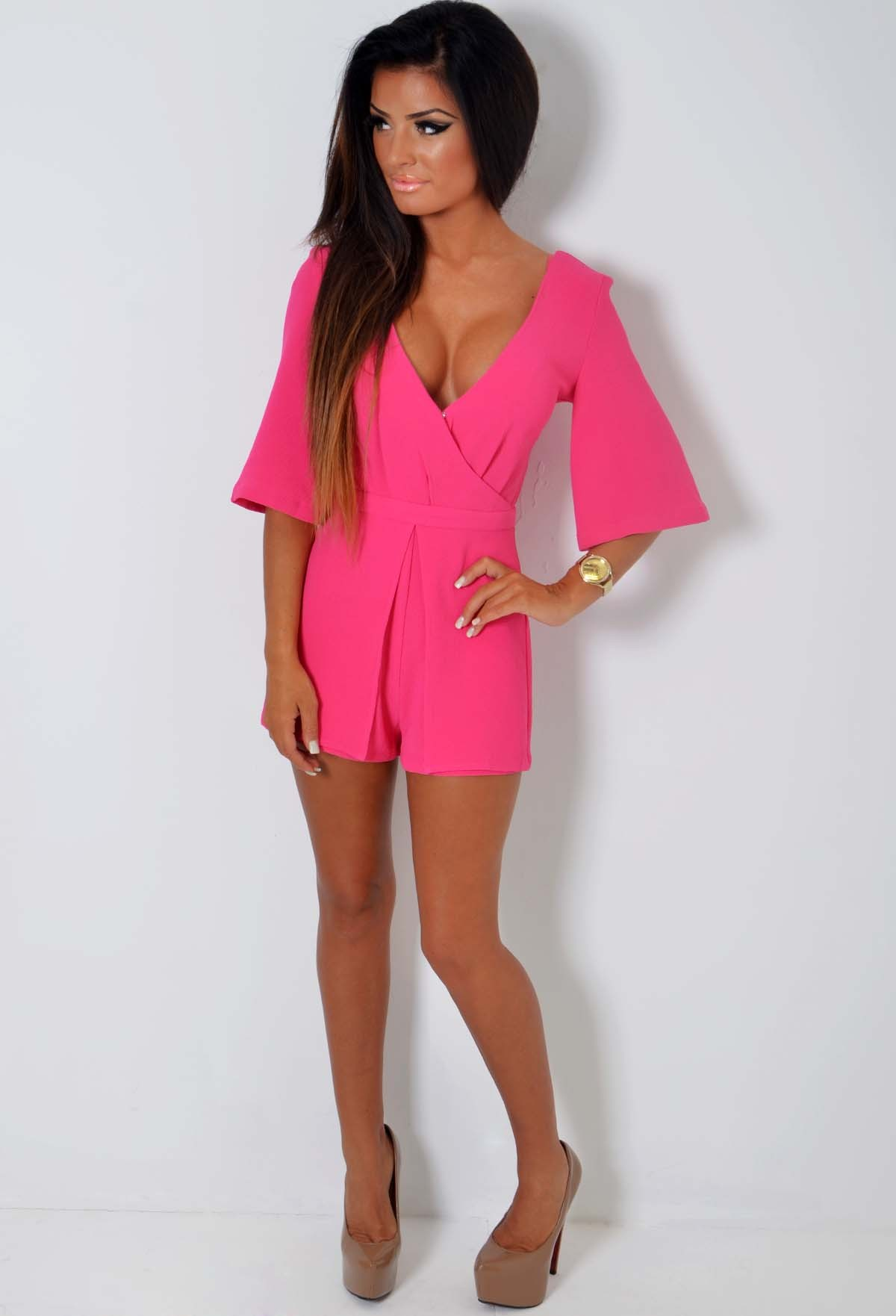 Paragon Hot Pink Plunge Crossover Playsuit | Pink Boutique