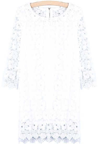 White Long Sleeve Hollow Lace Dress - Sheinside.com
