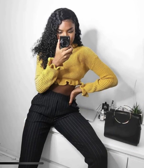 b75857fc624 Mustard Ruffle Hem Chunky Knit Crop Jumper - Alannah