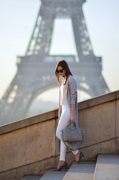 vogue haus blogger coat shirt jeans bag shoes sunglasses jewels