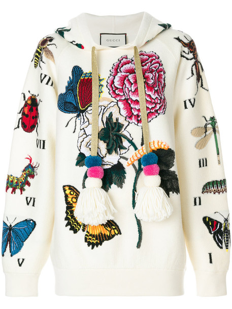 hoodie oversized embroidered women white cotton wool sweater