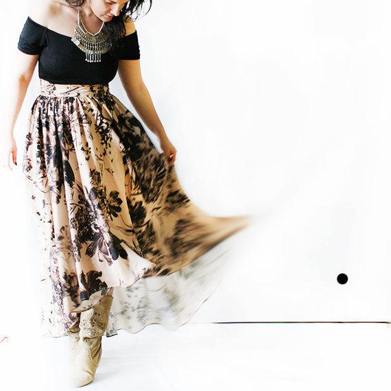 July sunset on the beach skirt\Silk woman skirt\Golden bej skirt\Floral pattern\Bohemian skirt\Waist skirt