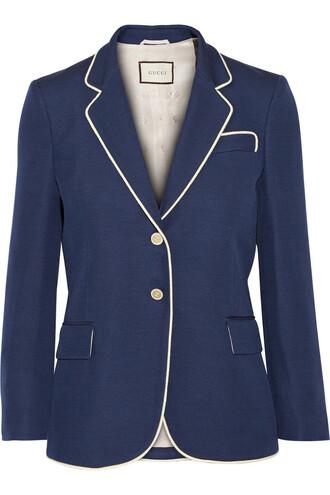 blazer embellished silk wool blue jacket