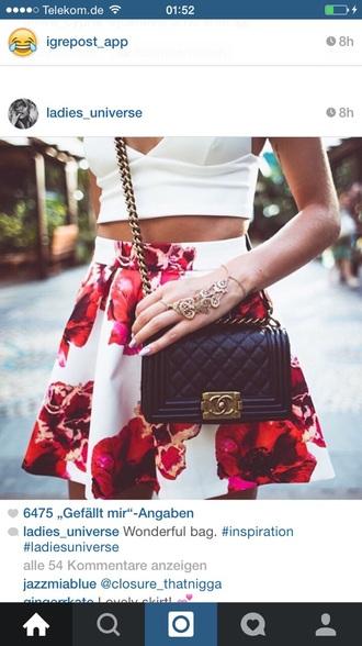 skirt floral skirt pink skirt red white skirt