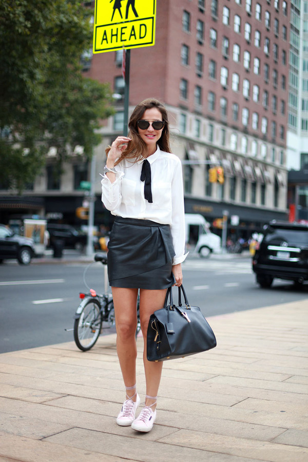 lady addict blogger blouse bag sunglasses skirt shoes