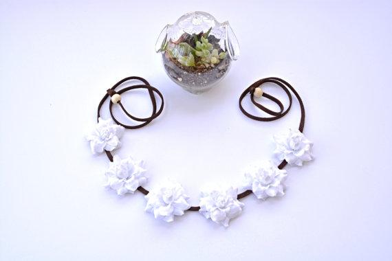 White rose flower crown headwrap floral crown flower halo headpiece bohemian boho hippie festival wear rose flower crown hairpiece