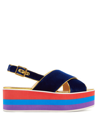 sandals platform sandals velvet navy shoes