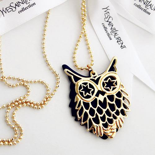 [grxjy5100215]adjustable chain owl pendant sweater crewneck necklace accessories / pgfancy