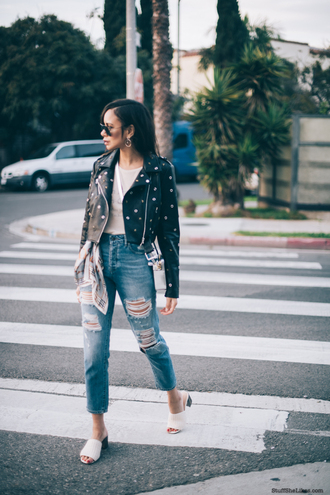 stuffshelikes blogger t-shirt jacket jeans jewels shoes bag sunglasses black leather jacket ripped jeans spring outfits
