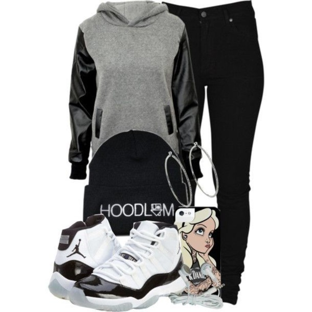 sweater grey leather pullover hoodie black shoes hat jewels jacket phone cover shirt