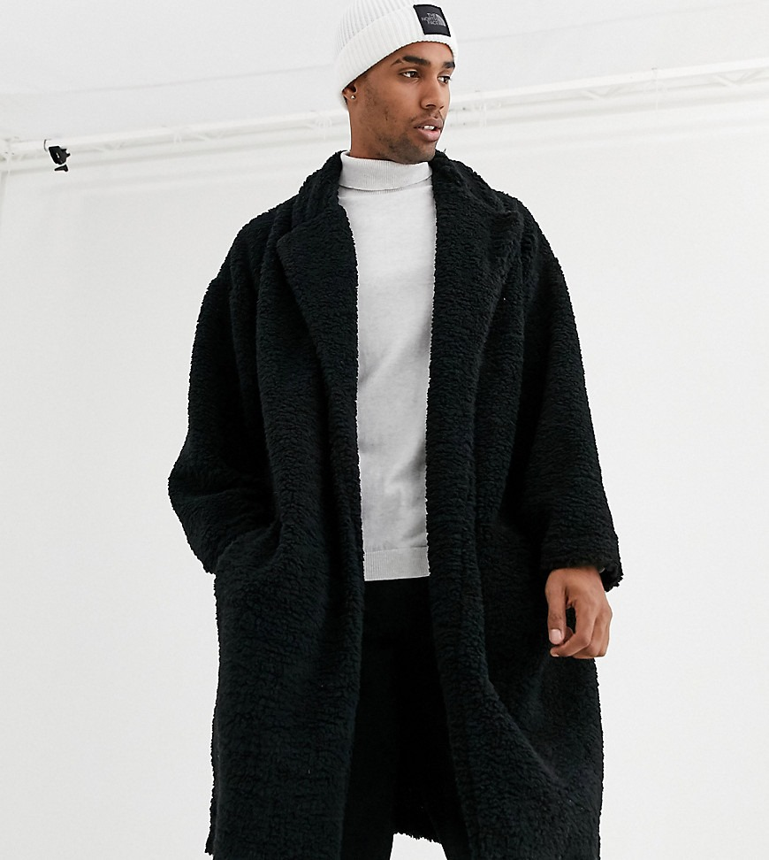 ASOS DESIGN Tall extreme oversized duster jacket in black borg