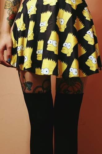 skirt the simpsons print high waisted grunge alternative tights bart simpson knee high socks socks cartoon cute skirt girly skater skirt yellow black white swimwear black skirt bart simpson skirt
