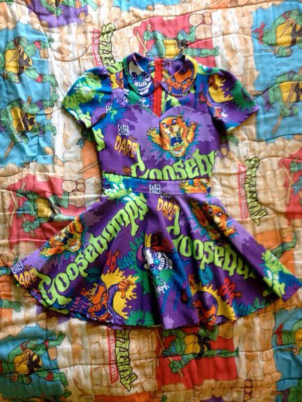 cartoon goosebumps dress cute dress 90s style