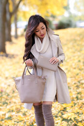 coat,tumblr,nude coat,all nude everything,nude dress,sweater dress,turtleneck dress,turtleneck,bag,nude bag,over the knee boots