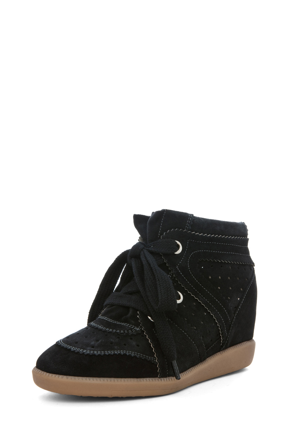 Isabel Marant|Bobby Calfkin Velvet Leather Sneakers in Anthracite