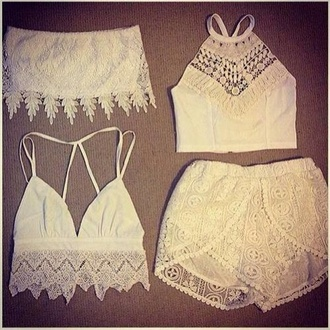 shorts white lace shorts white lace crop top tank top blouse white shirt