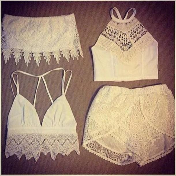 shorts white lace shorts white lace crop top tank top blouse white shirt