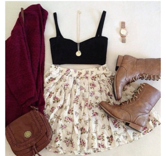 shoes skirt jewels shirt sweater dress pretty bag coat tank top cardigan brown leather boots floral skirt black top boots gold necklace gold watch outfit fashion style white floral skirt jewelry clothes blouse white skirt pattern top