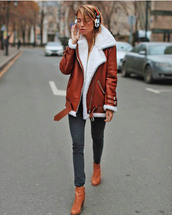 jacket,acne studios,brown jacket,leather jacket,shearling jacket,shearling,denim,jeans,black jeans,boots,brown boots