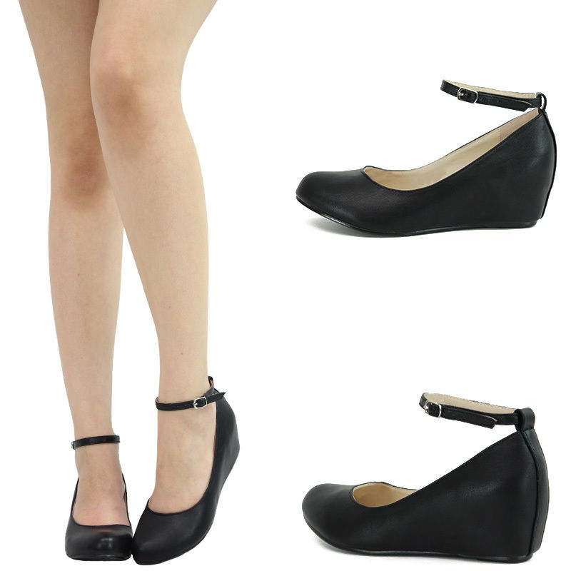 Black Round Toe Mary Jane Ankle Strap Hidden Low Med Wedge Heel Ballet Flat Pump | eBay