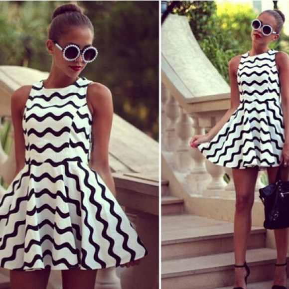 black sleeveless cute fashion skater dress white blogger girly sunglasses dress classic instagram round sunglasses pearls striped dress