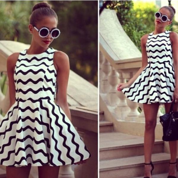 dress classic girly instagram round sunglasses pearl striped dress white black skater dress sleeveless cute blogger fashion sunglasses dress