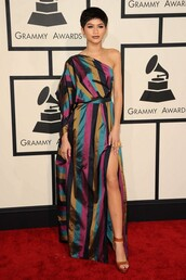 dress,one shoulder,zendaya,grammys 2015,sandal heels,sandals,colorful,shoes,jewels