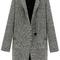 Romwe | lapel pocketed houndstooth grey coat, the latest street fashion