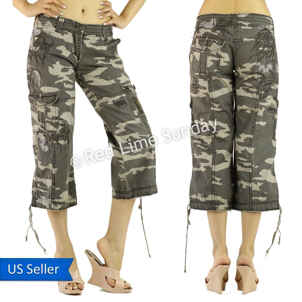Cool Womens Army Fatigue Pants Camouflage Cargo Pants Hip Hop Harem Baggy