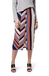 skirt,midi skirt,front slit skirt,striped skirt,multicolor