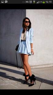 skirt,blazer,high heels,shoes,jacket,top,cute,blue skirt,light blue costum