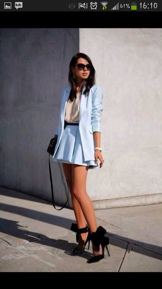 jacket blazer skirt high heels shoes