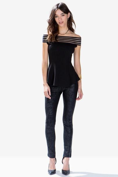 6487fca89e796c leggings leggings faux leather black cracked leggings shadow stripe off  shoulder top shadow stripe peplum top
