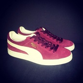 shoes,puma,suede,red,white