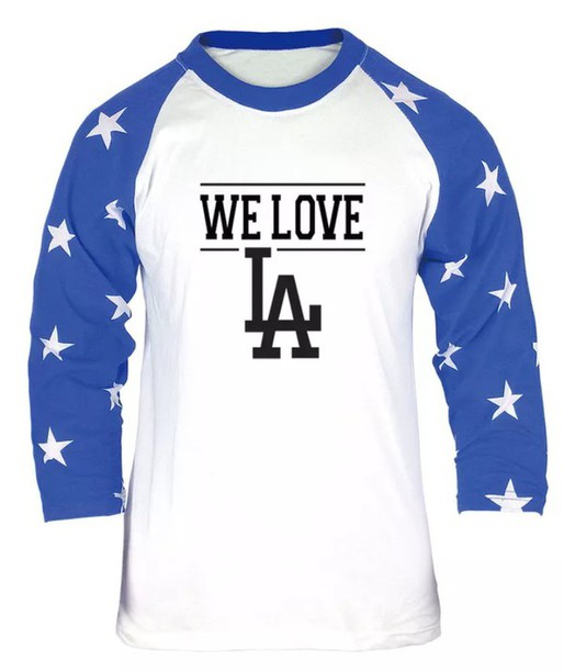 finest selection 2513b a7416 LA Dodgers Baseball Fan Custom Graphic T Shirts Jersey WE LOVE Printing Tees