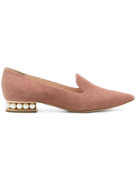 Nicholas Kirkwood women pearl loafers leather suede purple pink shoes