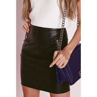 skirt leather high waisted zip streetwear style rose wholesale