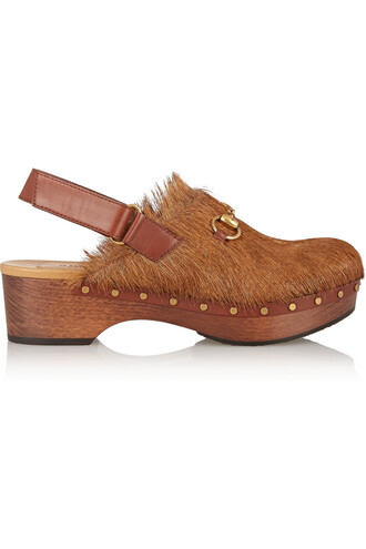clogs hair brown shoes