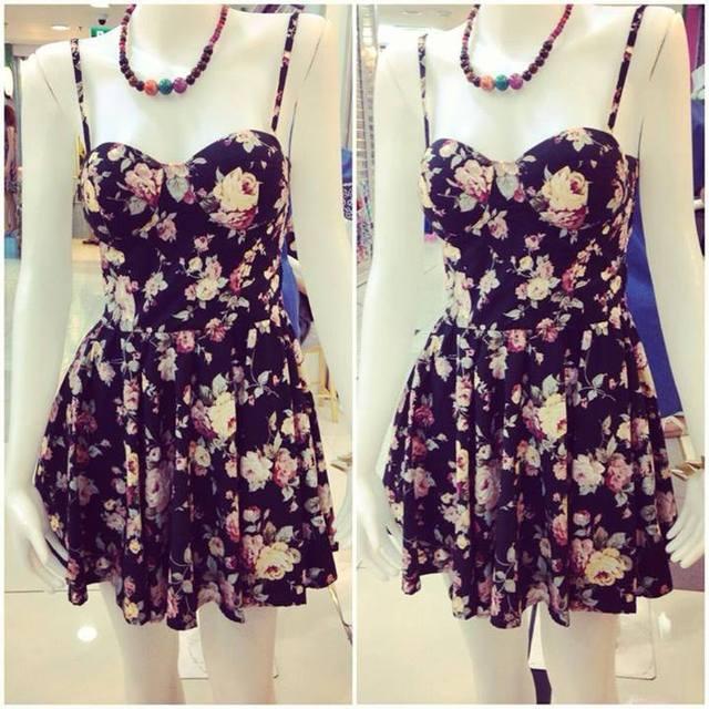 Vintage Flirty Floral Bustier Dress | eBay