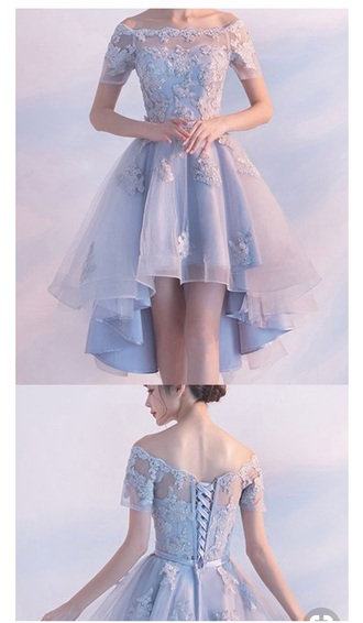 dress pastel blue dress floral dress lace dress short dress