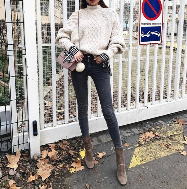 ea7b94a9f9c sweater tumblr white sweater cable knit white cable knit sweater denim  jeans black jeans skinny jeans