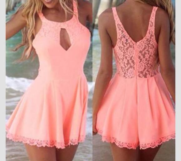 dress backless pink lace dress neon