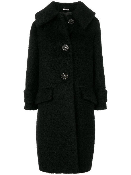 Miu Miu coat oversized women mohair black wool