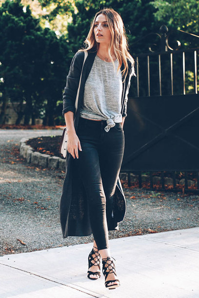 cardigan grey t-shirt black cardigan black jeans blogger black lace up heels