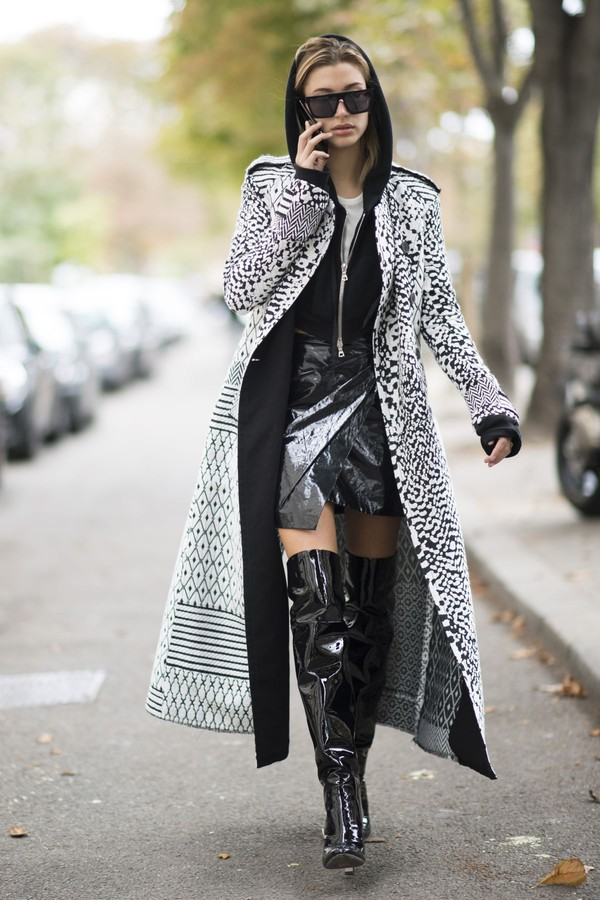 skirt coat streetstyle paris fashion week 2016 boots over the knee boots top hoodie fall outfits hailey baldwin sunglasses model off-duty sweater winter outfits winter look patent boots vinyl skirt