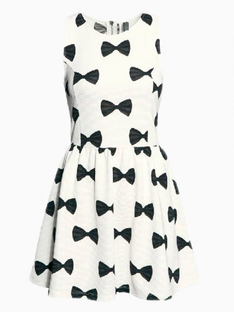 White Skate Dress With Bowknot Pattern | Choies