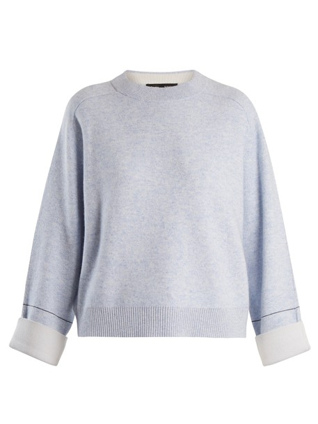 sweater cropped sweater cropped cotton light blue light blue