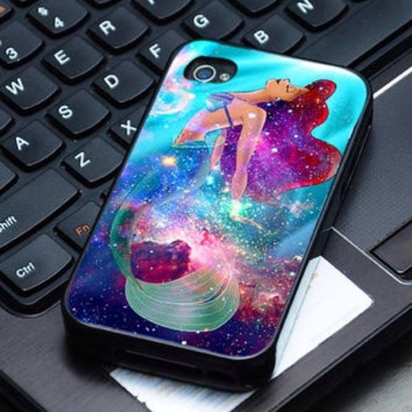 jewels phone case ariel the little mermaid nebula