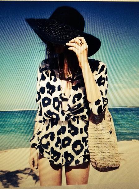 romper black white monochrome animal print romper beach summer style hat