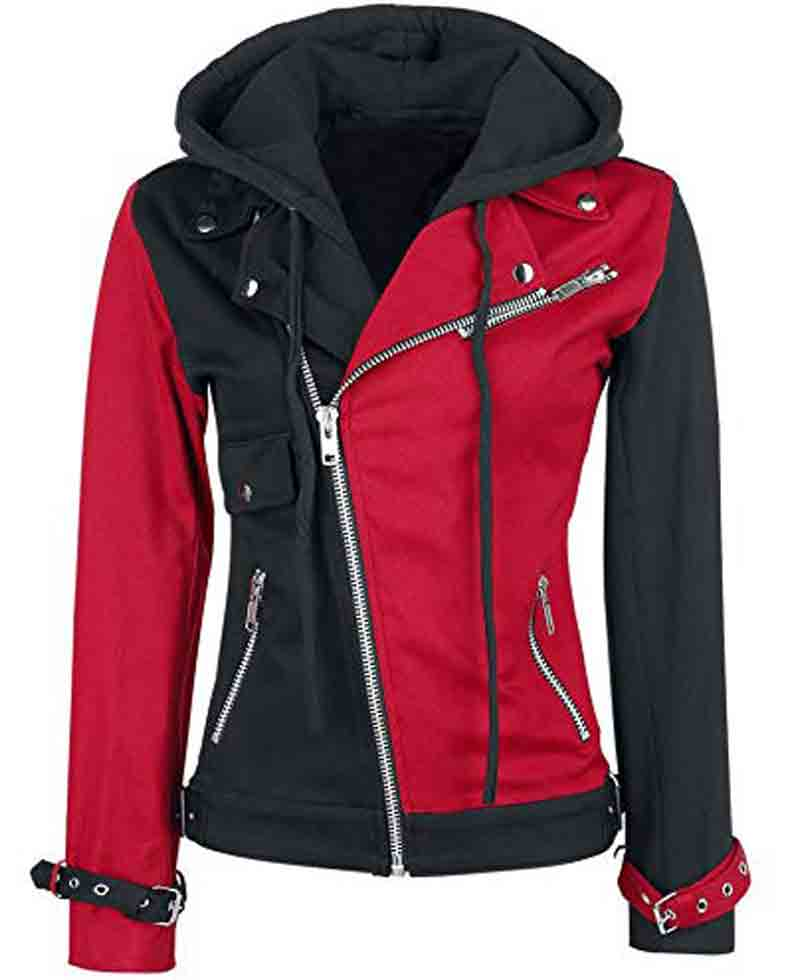 Asymmetrical Biker Black and Red Harley Quinn Jacket - Films Jackets